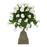 Faux Geranium in Grey Footed Tuscan Urn Planter House of Silk Flowers®