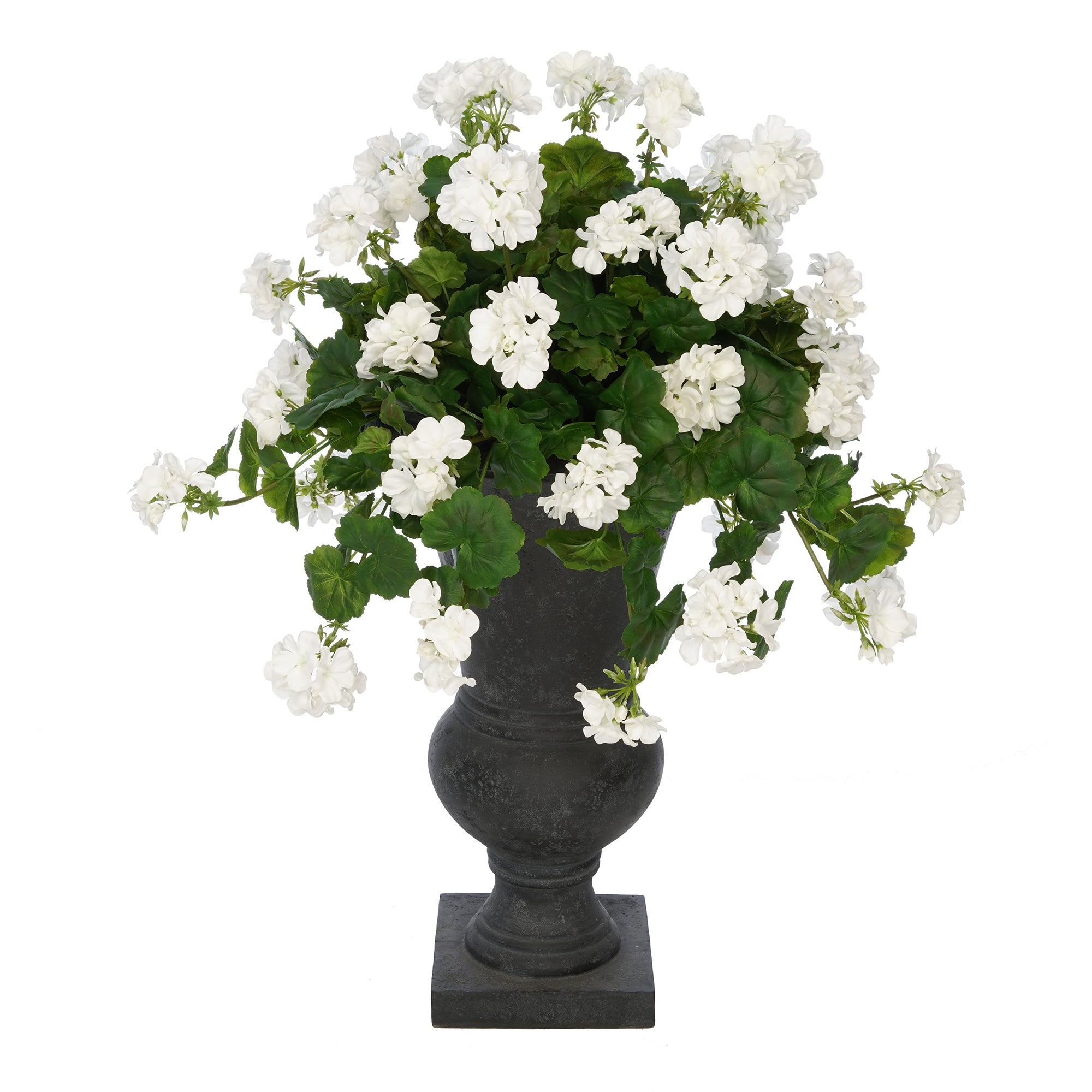 Faux Geranium in Black Roman Urn Planter House of Silk Flowers®