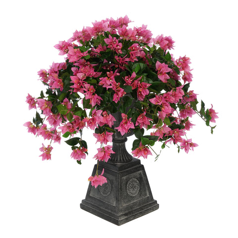 Faux Bougainvillea in Black Footed Tuscan Urn Planter