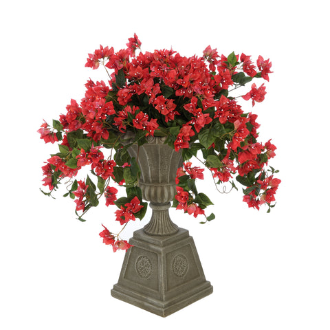 Faux Bougainvillea in Grey Footed Tuscan Urn Planter