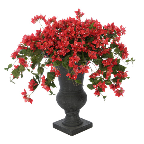 Faux Bougainvillea in Black-Washed Roman Urn Planter