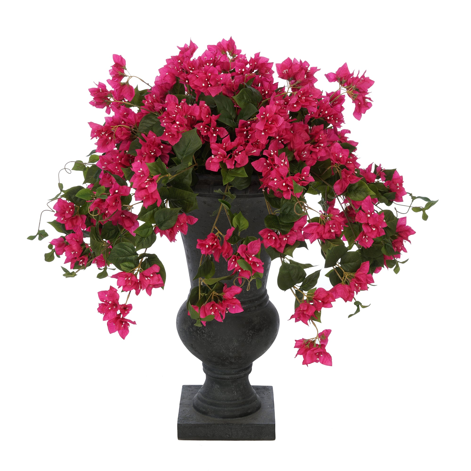 Faux Bougainvillea in Black-Washed Roman Urn Planter House of Silk Flowers®