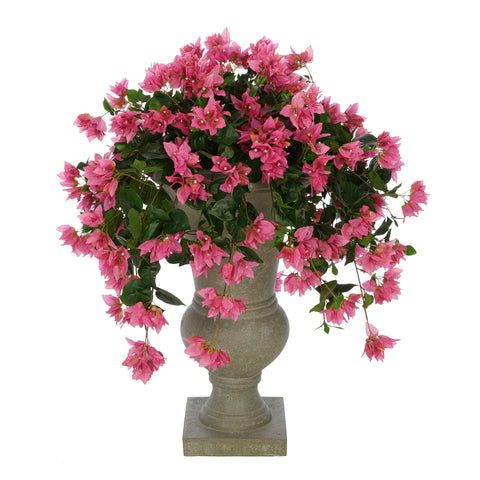 Faux Bougainvillea in Grey-Washed Roman Urn Planter