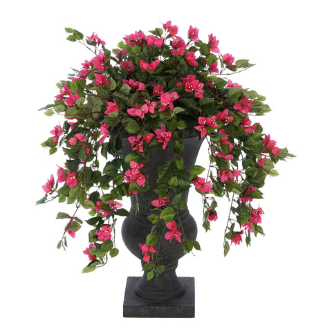 Faux Pink Mini Bougainvillea in Urn Planter