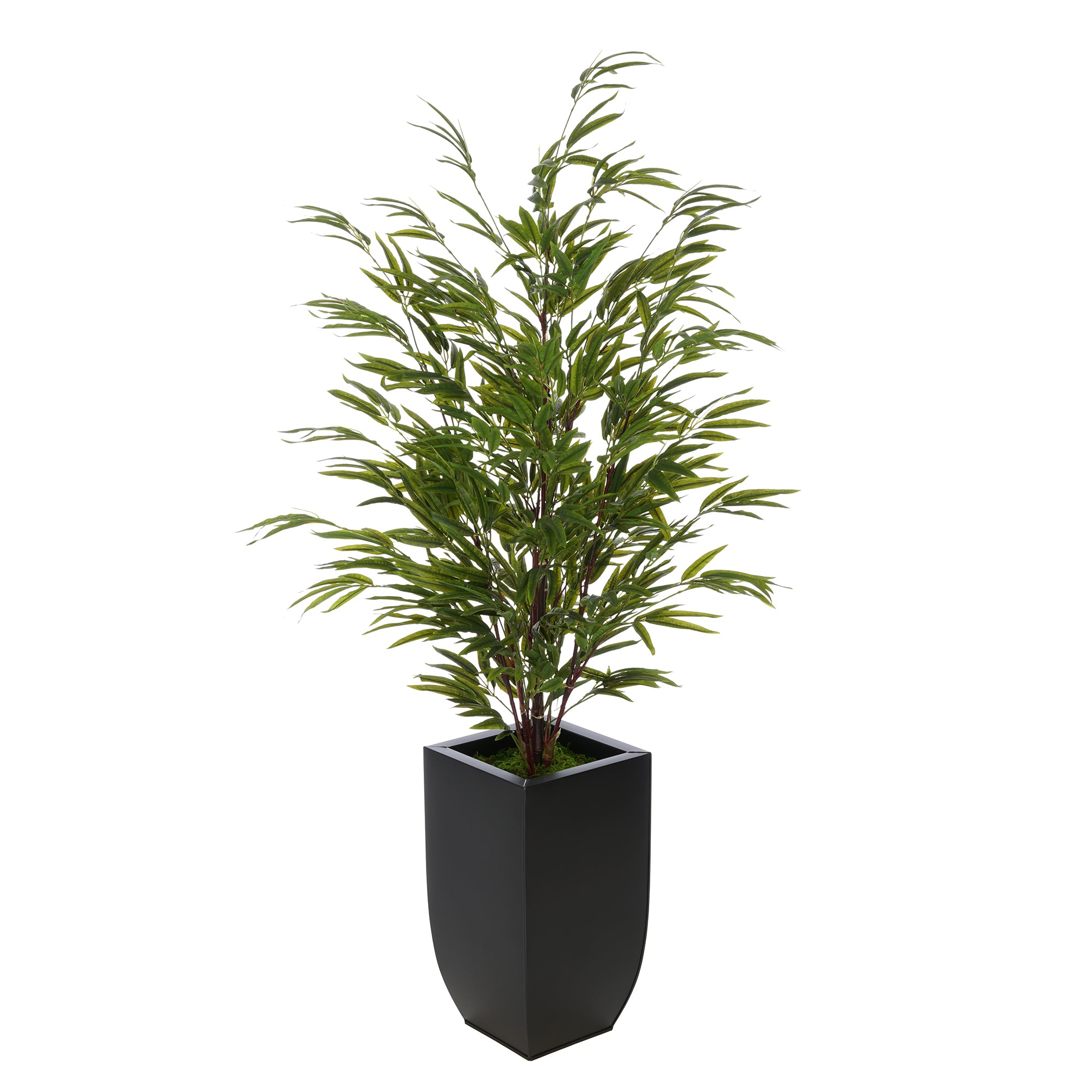Artificial 52 Inch Bamboo In Black Tapered Zinc Vase