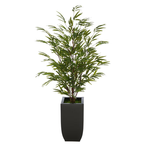 Artificial 52-inch Black Bamboo in Black Tapered Zinc Vase