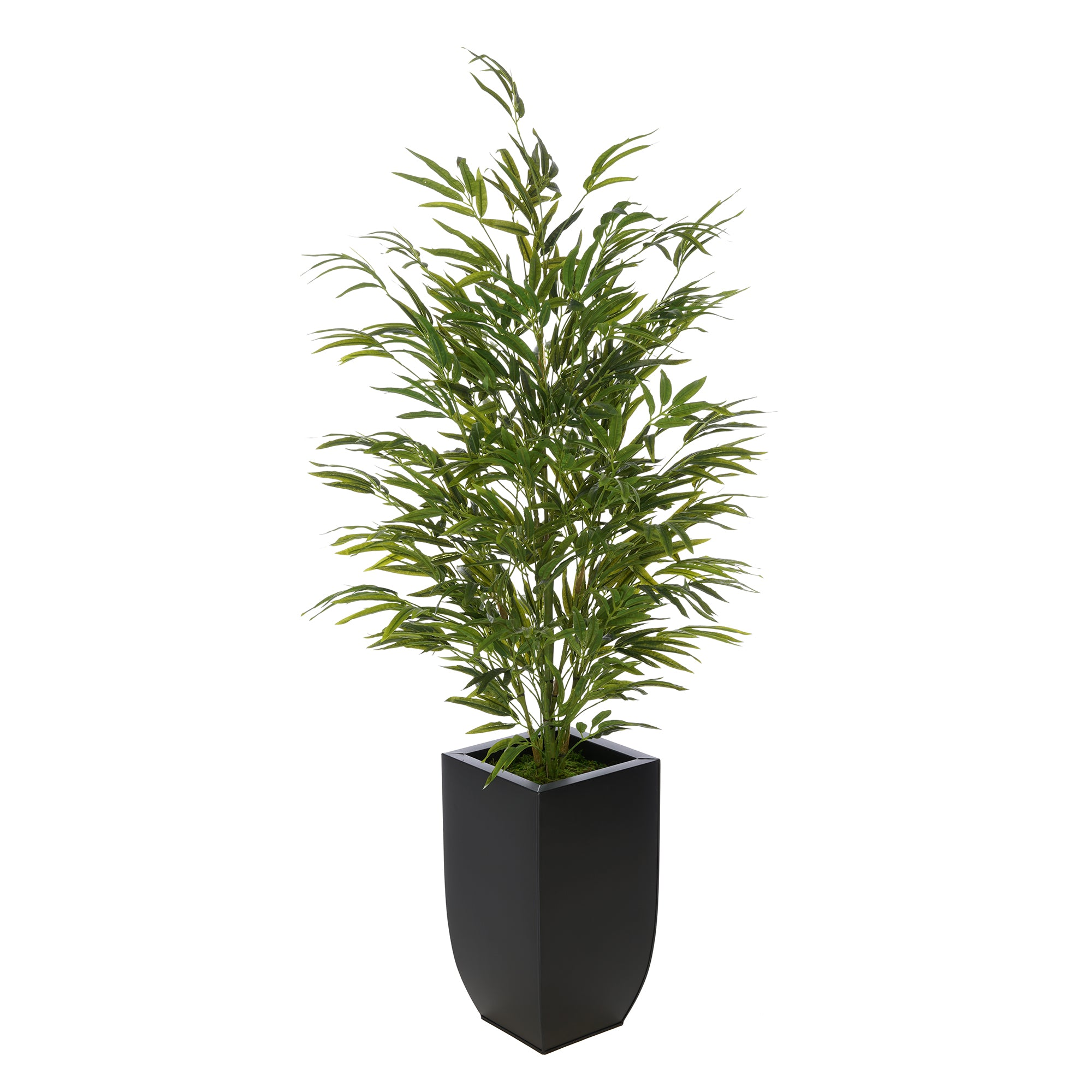 Artificial 52-inch Bamboo in Black Tapered Zinc Vase