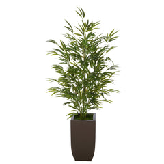 Artificial 52-inch Bamboo in Matte Brown Tapered Zinc Vase