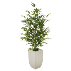 Artificial 52-inch Bamboo in Cream Tapered Zinc Vase