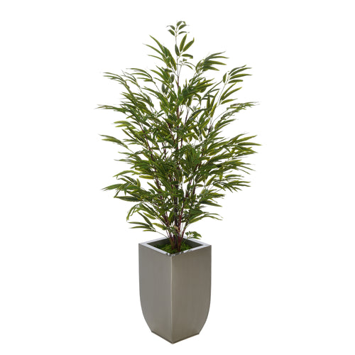 Artificial 52-inch Black Bamboo in Silver Tapered Zinc Vase House of Silk Flowers®