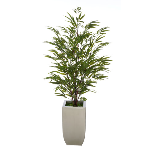 House of Silk Flowers® Artificial 52-inch Black Bamboo in Silver Tapered Zinc Vase