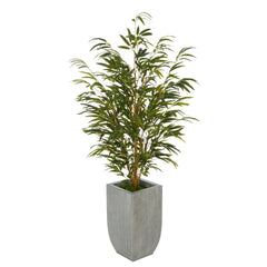 Artificial 52-inch Bamboo in Farmhouse Tapered Zinc Vase