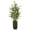 Artificial 52-inch Bamboo in Glossy Brown Tapered Zinc Vase