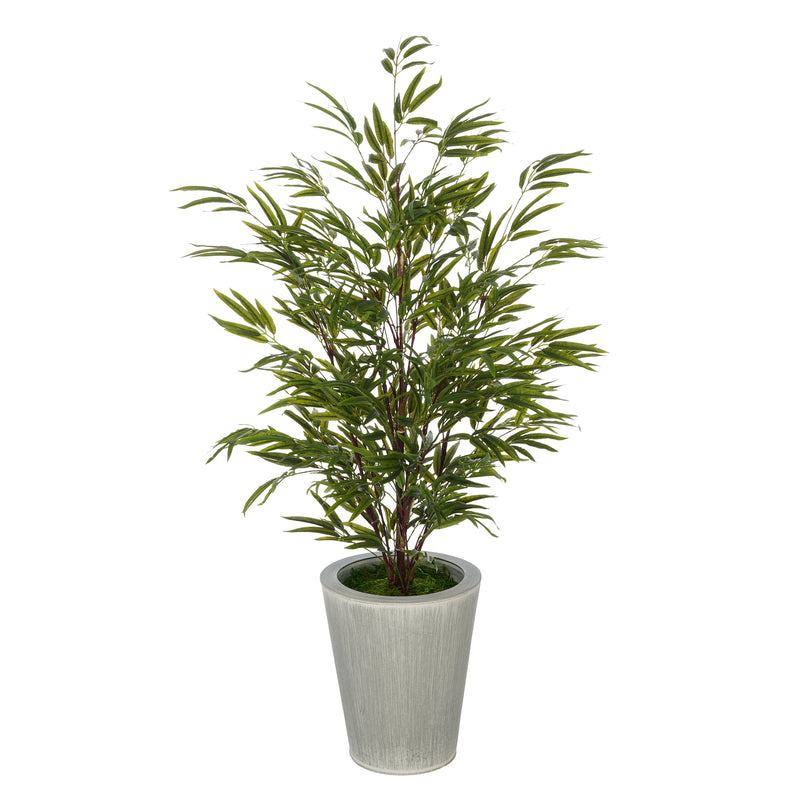 Faux 48-inch Bamboo in Farmhouse Round Zinc Vase