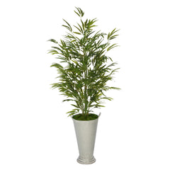 Faux 54-inch Bamboo in Galvanized Southern Farm Bucket