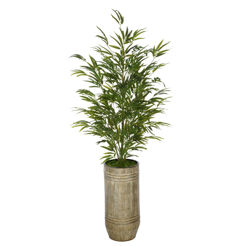Artificial 56-inch Bamboo in Smooth Industrial Metal Planter