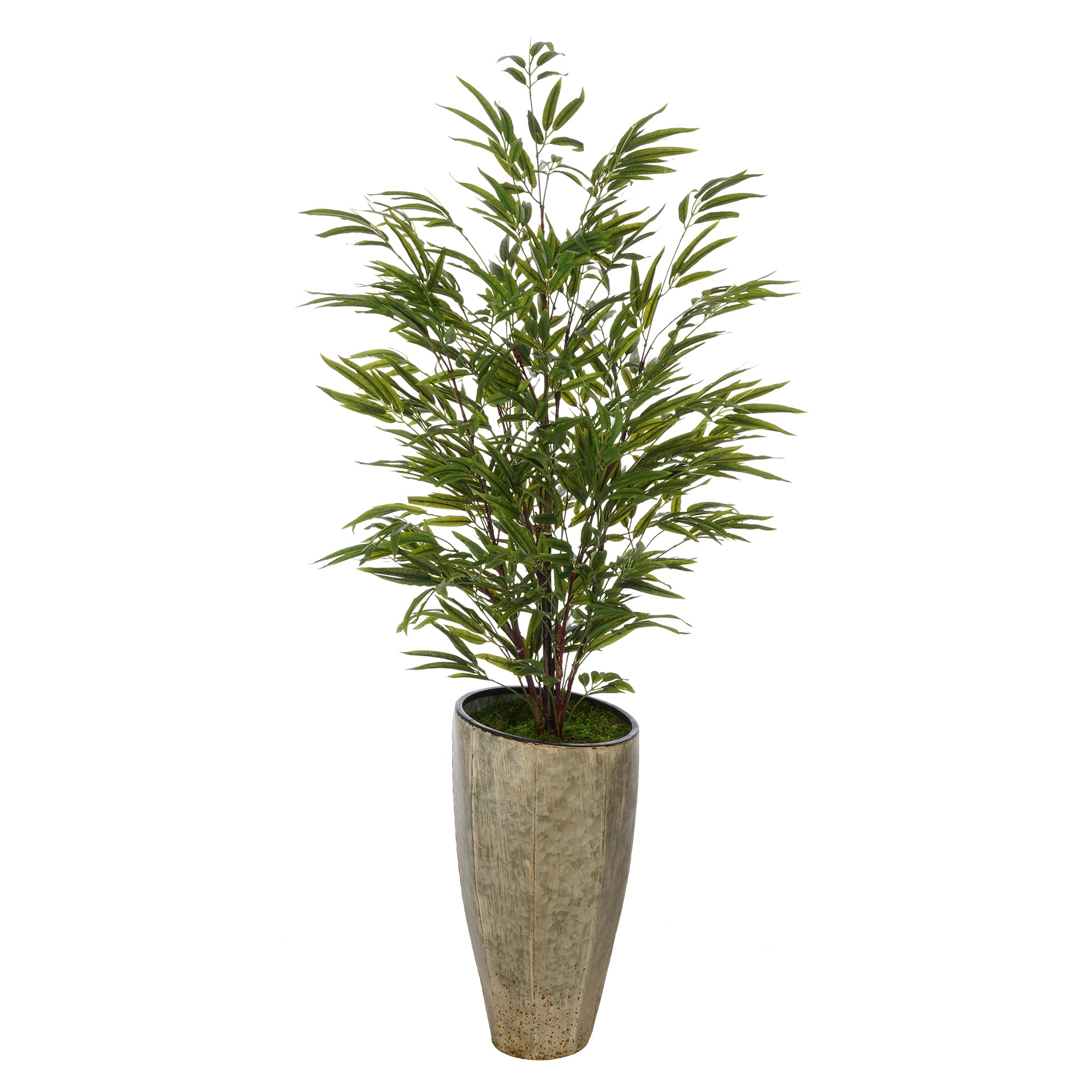Artificial 56-inch Bamboo in Angled Industrial Metal Planter
