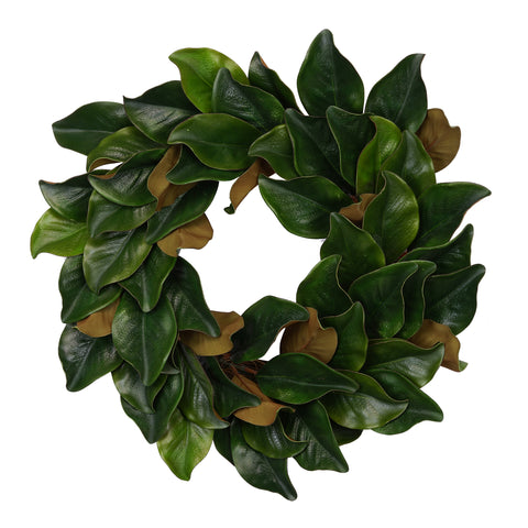 "24"" Real Touch Faux Magnolia Leaf Wreath (63 leaves)"