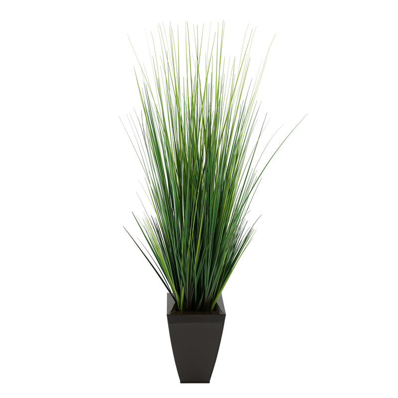"45"" Grass in Glossy Brown Tapered Square Zinc"