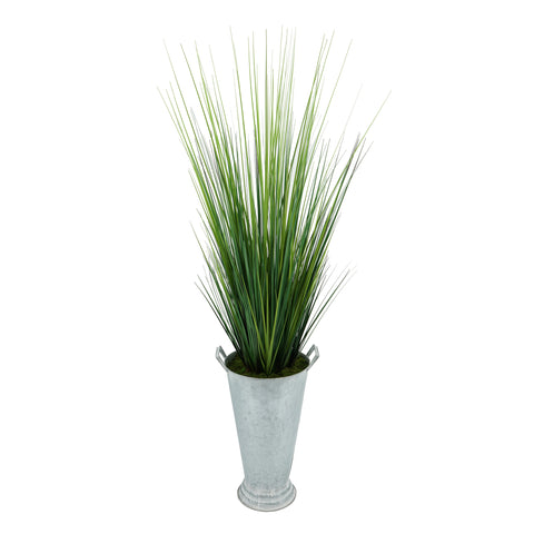Artificial 50-inch Grass in Galvanized Southern Farm Bucket