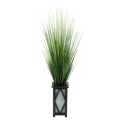 "50"" Grass in Black Diamond Wood/Metal Planter"