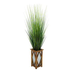 "50"" Grass in Brown Diamond Wood/Metal Planter"