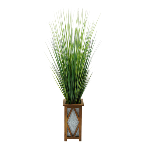 Artificial 50-inch Grass in Wood/Metal Planter