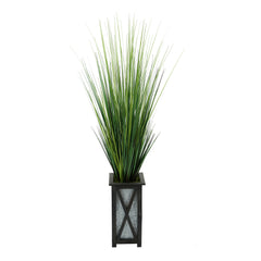 "50"" Grass in Black Crisscross Wood/Metal Planter"