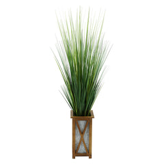 "50"" Grass in Brown Crisscross Wood/Metal Planter"