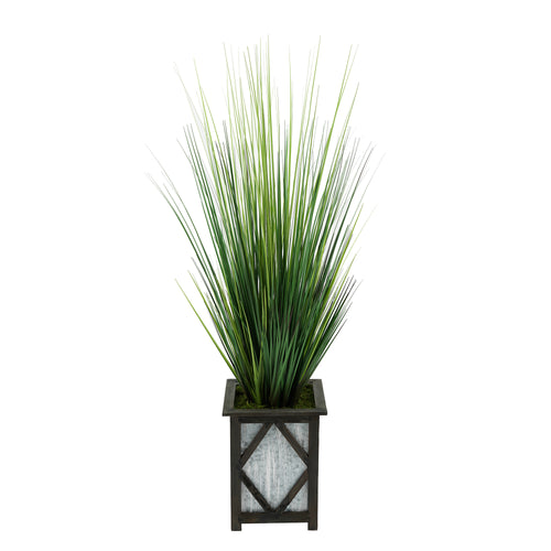 Artificial 46-inch Grass in Wood/Metal Planter Black Diamond House of Silk Flowers®