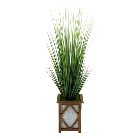 Artificial 46-inch Grass in Wood/Metal Planter