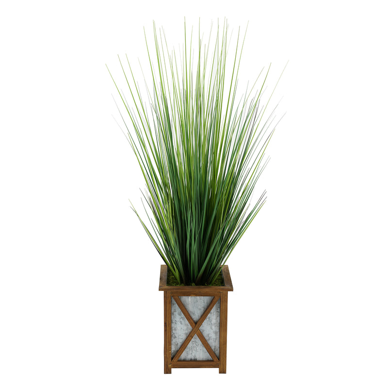 Artificial 46-inch Grass in Wood/Metal Planter Brown Crisscross House of Silk Flowers®