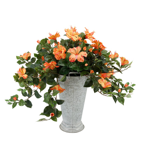 Faux Trailing Hibiscus in Galvanized Southern Farm Bucket