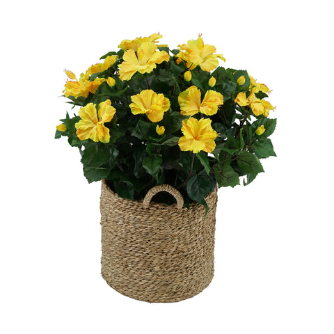 Artificial Hibiscus in Seagrass Basket