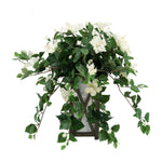 Faux Cream Trailing Hibiscus in Black Wood/Metal Planter