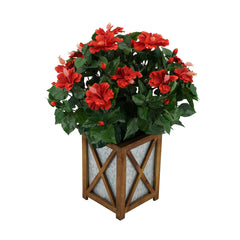 Artificial Red Hibiscus in Brown Wood/Metal Planter