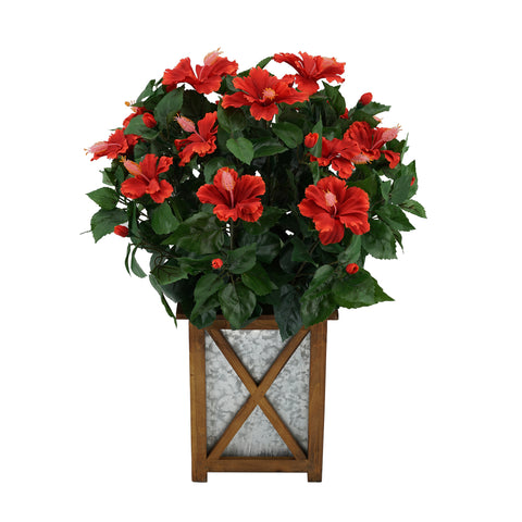Artificial Hibiscus in Brown Wood/Metal Planter