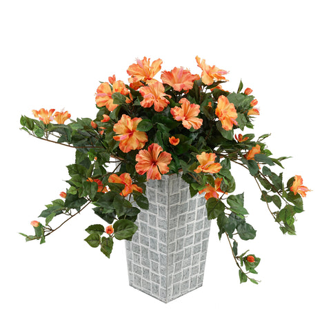 Faux Trailing Hibiscus in Designer Galvanized Metal Planter