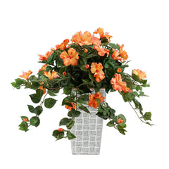 Faux Orange Trailing Hibiscus in Designer Galvanized Metal Planter