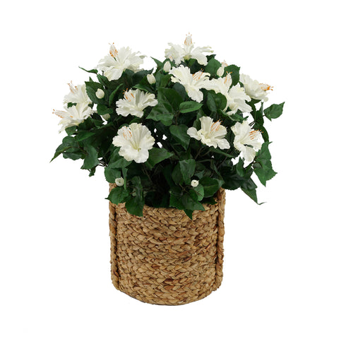 Artificial Hibiscus in Water Hyacinth Basket with Handles