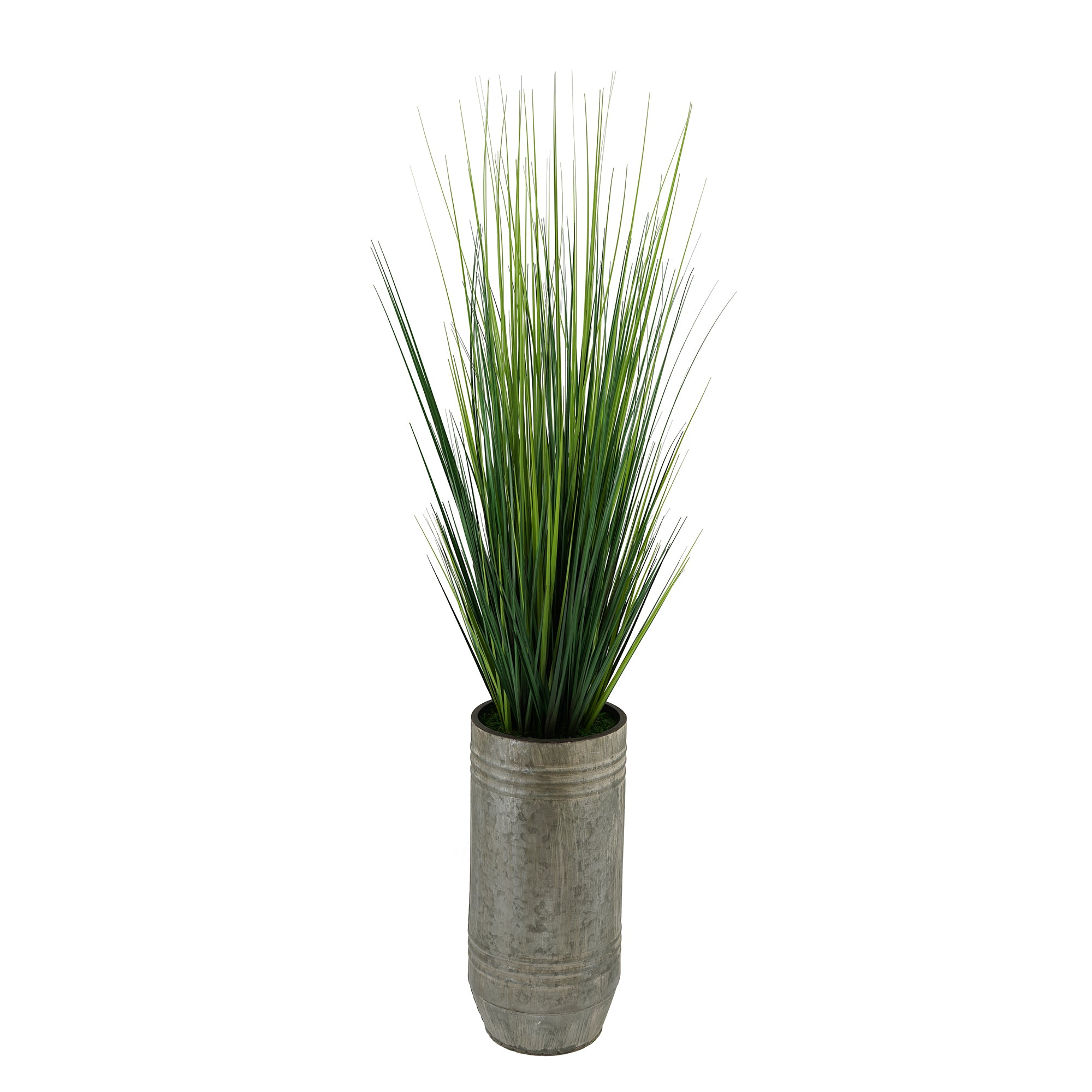 Artificial Reed Grass in Smooth Industrial Metal Planter