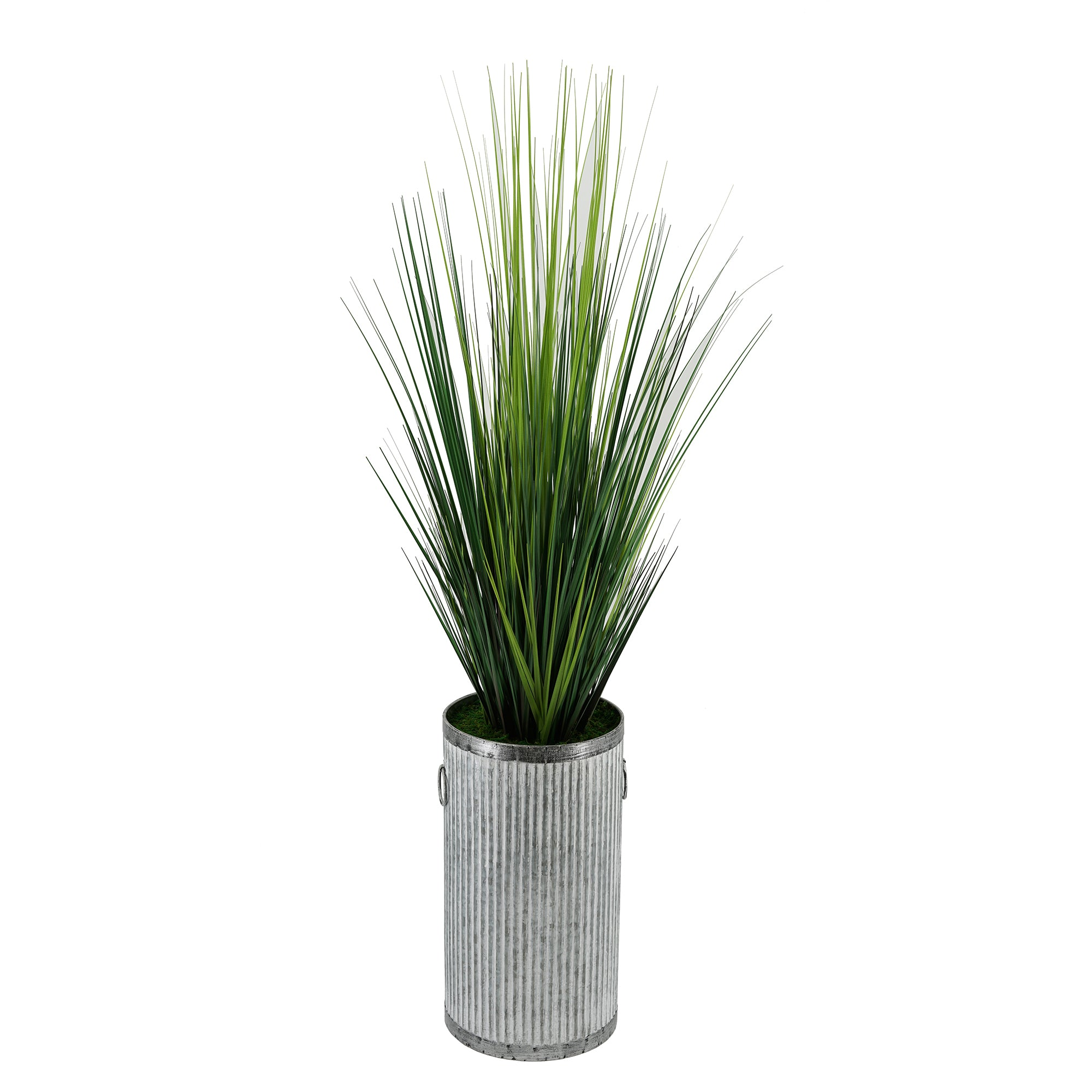 Artificial Reed Grass in Ribbed Metal Planter