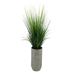 Artificial Marsh Grass in Smooth Industrial Metal Planter