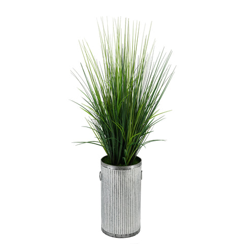 Artificial Marsh Grass in Ribbed Metal Planter