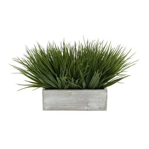 "Artificial Green Farm Grass in 9"" Washed Wood Trough"