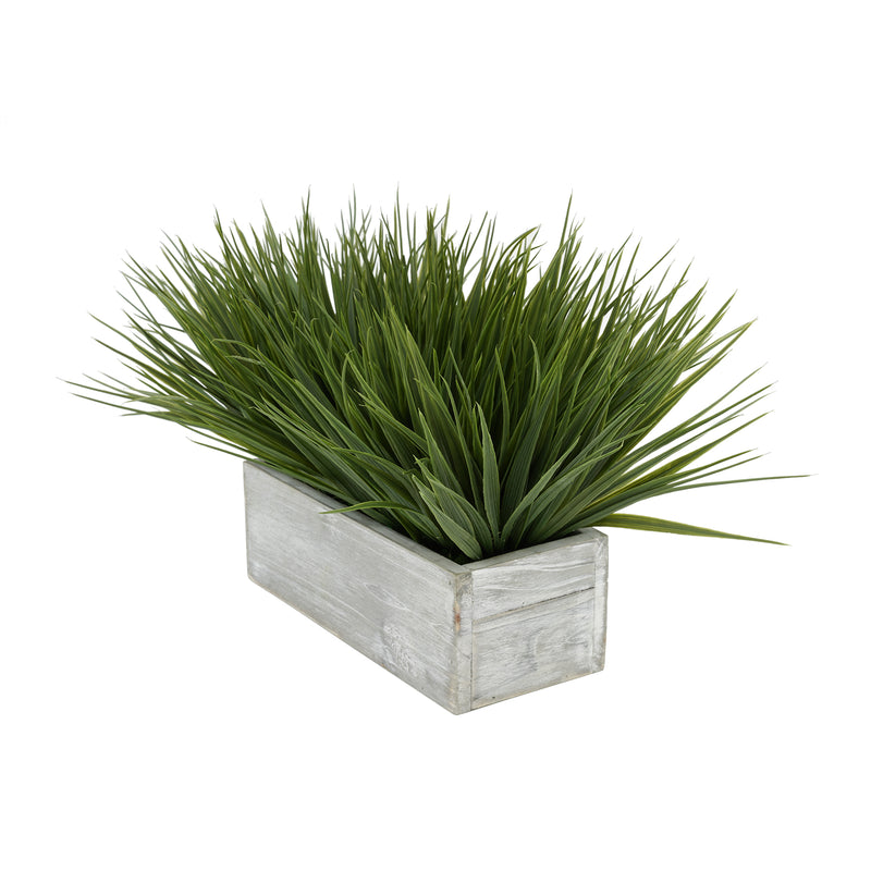 "Artificial Green Farm Grass in 9"" Grey Washed Wood Trough"