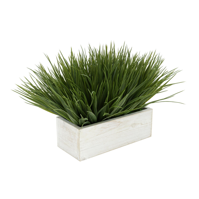 "Artificial Green Farm Grass in 9"" White Washed Wood Trough"