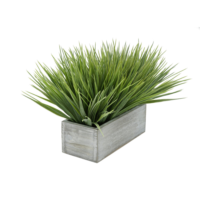 "Artificial Frosted Farm Grass in 9"" Grey Washed Wood Trough"