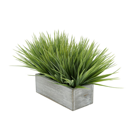 "Artificial Frosted Farm Grass in 9"" Washed Wood Trough"