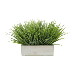 "Artificial Frosted Farm Grass in 9"" White Washed Wood Trough"